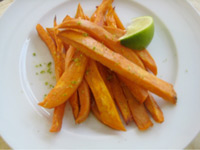 Sweet potato fries with lime.??Copyright 2010 Linda Weiss.